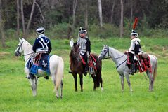 Horse riders at Borodino battle historical reenactment in Russia Stock Images
