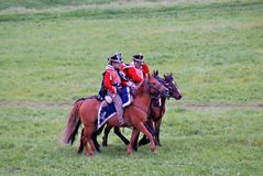 Horse riders at Borodino battle historical reenactment in Russia Stock Photo