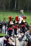 Horse riders at Borodino battle historical reenactment in Russia Royalty Free Stock Photography