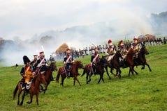 Horse riders at Borodino battle historical reenactment in Russia Stock Photo
