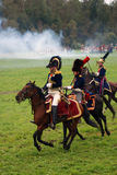 Horse riders at Borodino battle historical reenactment in Russia. BORODINO, MOSCOW REGION - SEPTEMBER 04, 2016: Reenactors dressed as Napoleonic war soldiers Royalty Free Stock Photography