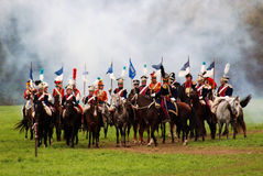 Horse riders at Borodino battle historical reenactment in Russia Stock Image