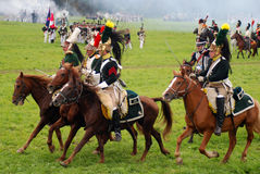 Horse riders at Borodino battle historical reenactment in Russia Stock Photos