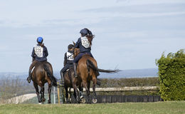 Horse riders on a fun ride. Riders on a fun ride on the gallops at WhiteHill Hampshire England UK Royalty Free Stock Image
