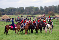 Horse riders - men group - at Borodino battle historical reenactment in Russia Stock Photography