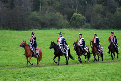 Horse riders - men group - at Borodino battle historical reenactment in Russia Stock Images