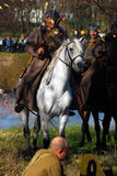 Horse riders at Moscow battle historical reenactment Royalty Free Stock Photos