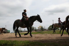 Horse riders in in Mozhaysk near Moscow, Russia. Royalty Free Stock Photo