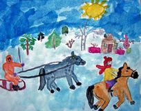 Horse riders in winter painted by child royalty free stock photo