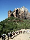 Horse riders in Zion Canyon. Line of horse riders in Zion Canyon with rock formation in background, Zion National Park, Utah, U.S.A royalty free stock image