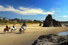 Horse Rides Scenic Beach, Oregon Pacific Coast Stock Images