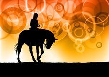 Horse riding. Black silhouette of horse riding Royalty Free Stock Image