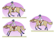 Horse-riding. Three riding positions - Cartoon style royalty free illustration