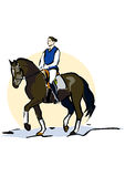 Horse riding. A young lady is riding a horse, dressage riding Stock Images