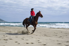 Horse riding on the beach Royalty Free Stock Photo