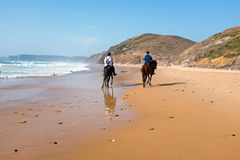 Horse riding at the beach at the ocean Royalty Free Stock Image