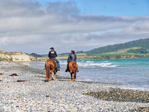 Horse riding on beach Stock Images