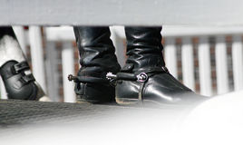 Horse riding boot spur stock photo