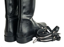 Horse riding  boots and spurs isolated on white. close up Royalty Free Stock Photos