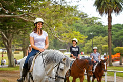 Horse riding in Centennial Park, Sydney Stock Image