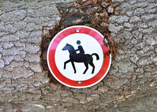 Horse riding forbidden Stock Photos