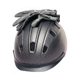 Horse riding grey  helmet and gloves Stock Images