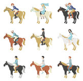 Horse riding lessons. Vector illustration in a flat style stock illustration