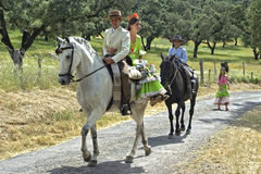 Horse riding, rural landscape, traditional costume. Spain, province Andalusia [Huelva], in the small town Almonaster la Real there is every year, yearly, on the Stock Images