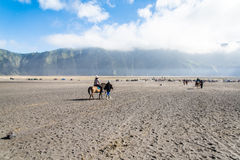 Horse riding service. Around Bromo walking from crater to the parking areas. Mt.Bromo is locate on Tengger Semeru National Park, East Java, Indonesia royalty free stock photography