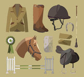 Horse riding set Royalty Free Stock Photo