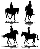 Horse riding silhouettes Royalty Free Stock Images
