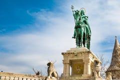 Horse riding statue, Stephen I of Hungary, Fishermen's Bastion, Budapest Royalty Free Stock Photo