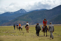 Horse riding to snow mountain trip Royalty Free Stock Photography