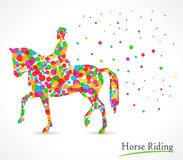 Horse riding vector illustration with polka dot background Royalty Free Stock Image
