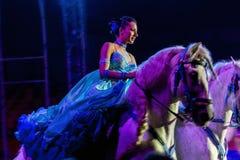 Horse riding woman at circus Stock Photography