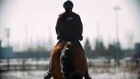 Horse riding - young woman horsewoman is galloping on her horse