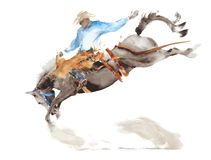Horse rodeo watercolor painting illustration isolated on white american sport wild west tradition. Horse rodeo watercolor painting illustration isolated on white royalty free illustration
