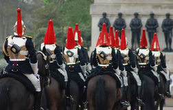 Horse Royal Guard. View of changing horse guard in London stock images