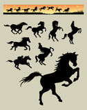 Horse Running Silhouettes 1 Stock Photos