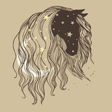Horse`s head with long curly mane, moon and stars. Vector hand drawn illustration in romantic boho style Stock Images