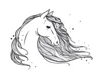 Horse`s head with long wavy mane. Vector hand drawn illustration on white background may be used as tattoo sketch, t-shirt print and other Stock Image