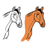 Horse's head (outline and orange color) Stock Photo