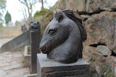 Horse`s head sculpture. Close-up Royalty Free Stock Photos