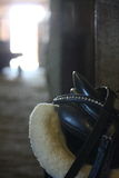 Horse saddle close up in the stable Stock Photos