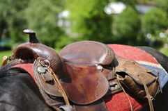 Horse saddle detail Stock Photos