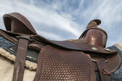 Horse saddle,leather,blanket Stock Image