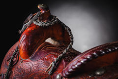 Horse saddle. Leather and various equipment stock photography
