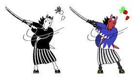 Horse samurai. Cutting a carrot with sword,two patterns vector illustration