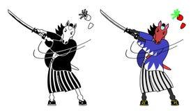Horse samurai Stock Images