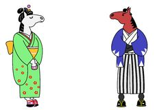 Horse samurai and horse girl. In kimono stock illustration